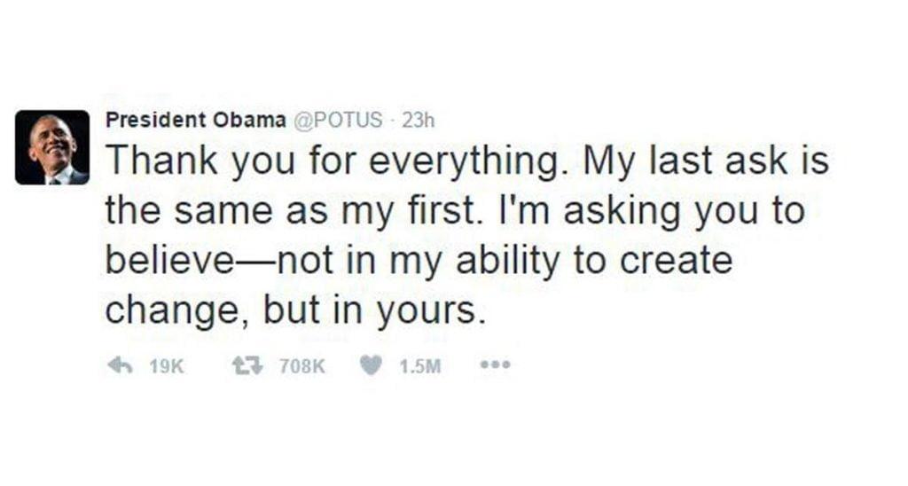 تغريدة أوباما التي حطمت كل أرقامه القياسية