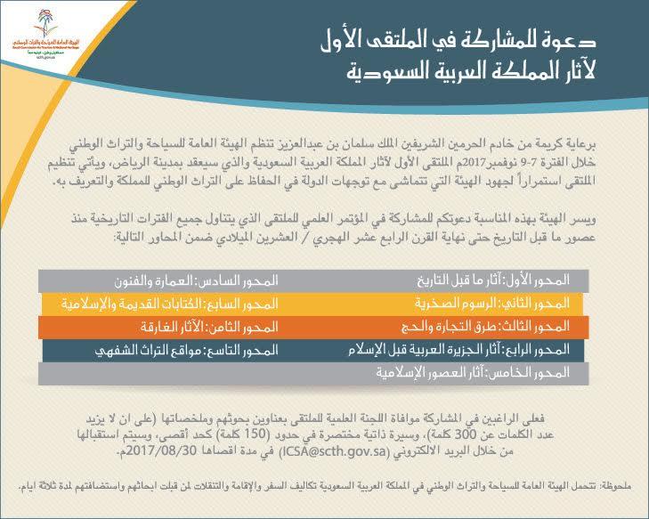 سياحة الجوف تدعو الراغبين المشاركة بملتقى الآثار الوطنية الأول
