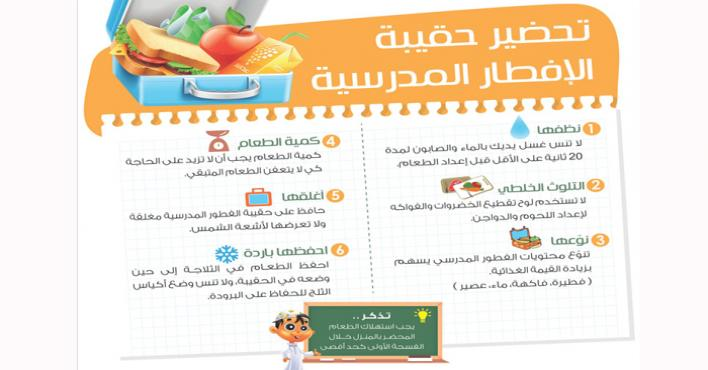 الغذاء والدواء تنصح بخطوات لتحضير حقيبة الإفطار المدرسية