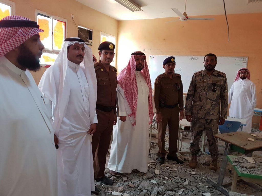 محافظ العارضة واللجنة الأمنية يقفون على أضرار المدرسة
