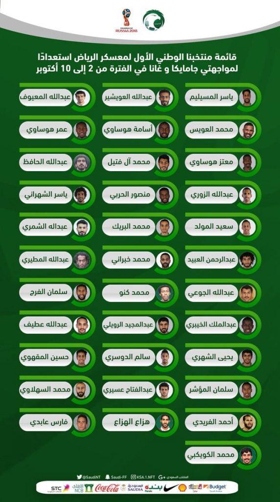 إعلان قائمة الأخضر لمواجهتي جامايكا وغانا