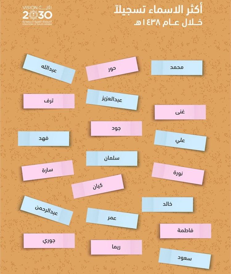 أكثر الأسماء تسجيلًا خلال عام 1438هـ لمواليد المملكة
