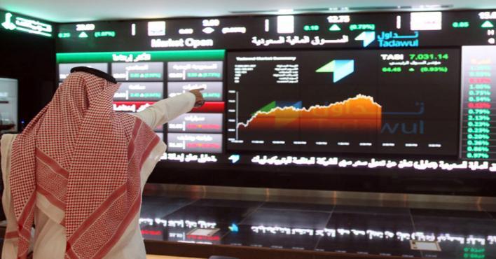 """""""الأسهم السعودية"""" يغلق مرتفعًا عند مستوى 8849.21 نقطة"""