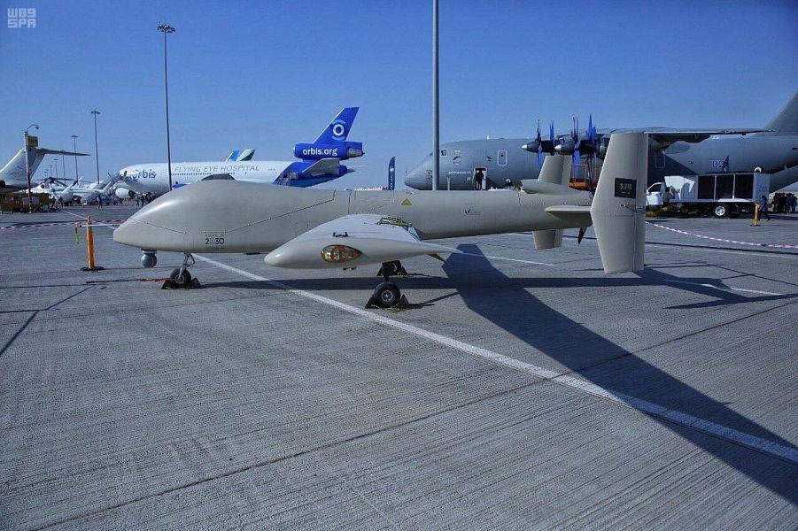 """مدينة الملك عبدالعزيز للعلوم والتقنية تعرض طائرتها الاستراتيجية بدون طيار """"صقر1"""" في معرض دبي للطيران 2017"""