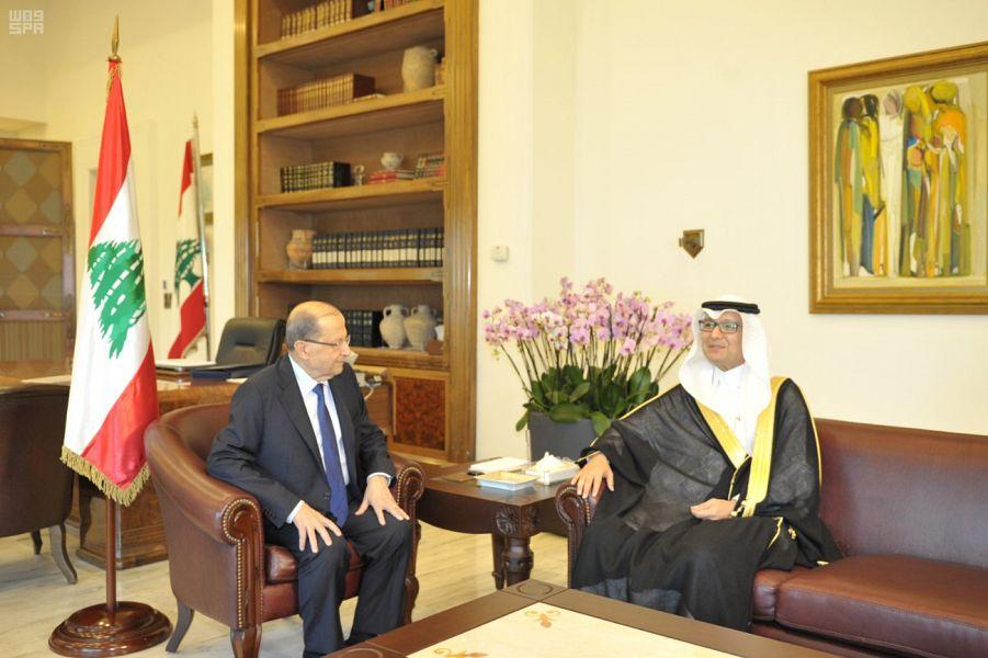 رئيس الجمهورية اللبنانية يلتقي القائم بأعمال سفارة المملكة في لبنان