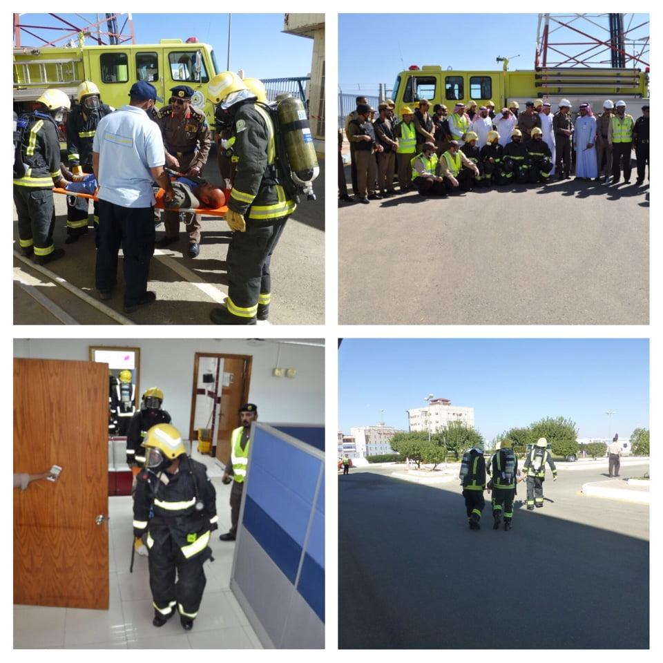 مدني الباحة ينفذ فرضية حريق في المركز الرئيسي لشركة الاتصالات السعودية