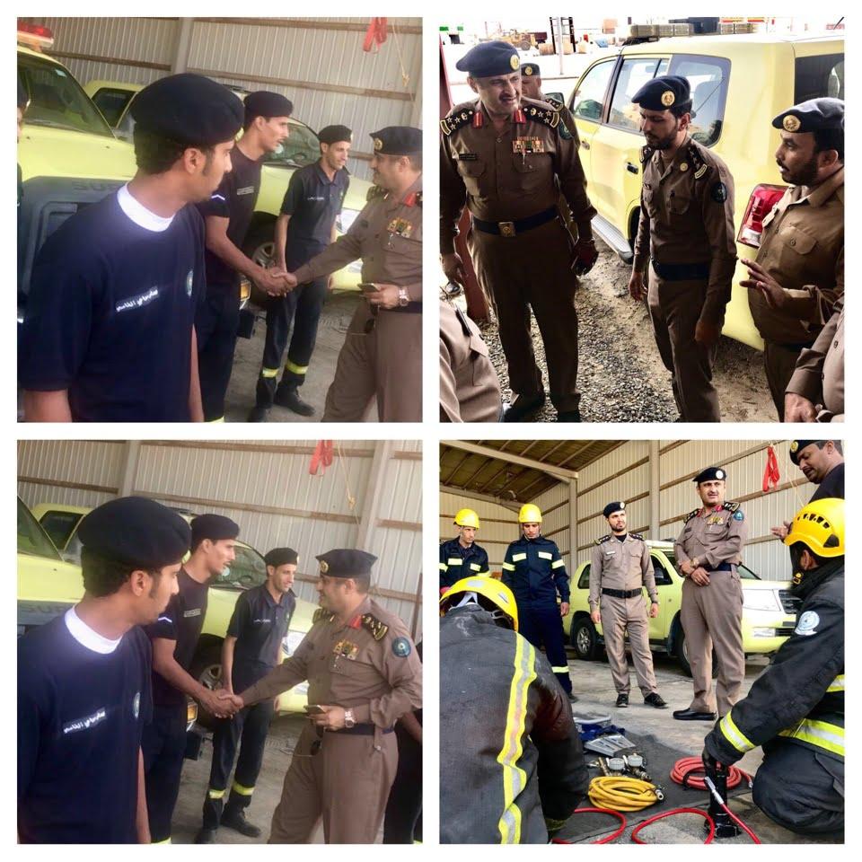 العميد المنتشري يقوم بجولة لإدارة الدفاع المدني بقلوة والشعراء والحجرة في الباحة