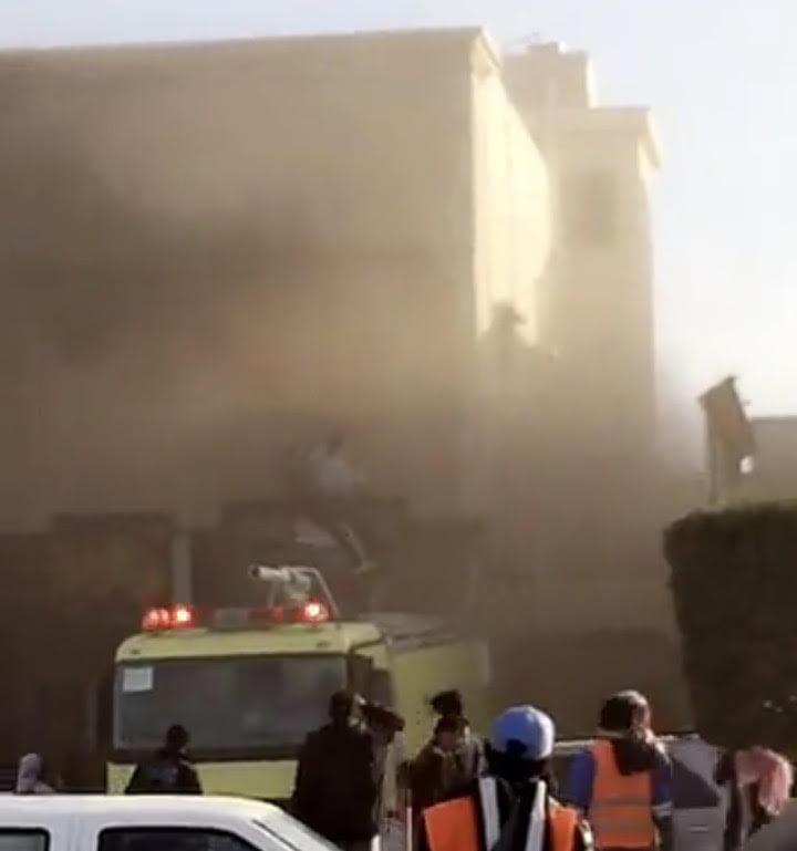إصابة (20) حالة في حريق داخل مبنى في حائل