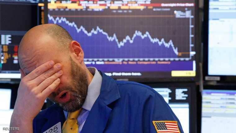 """الأسهم الأمريكية تهوي مجددا و بورصة """"ول ستريت"""" تواصل نزيف الخسائر"""