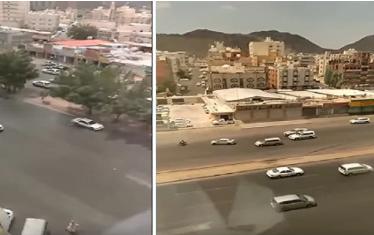 """شاهد.. مطاردة مثيرة بين سيارة وقائد """" دباب"""" كادت تنتهي بكارثة في مكة!"""