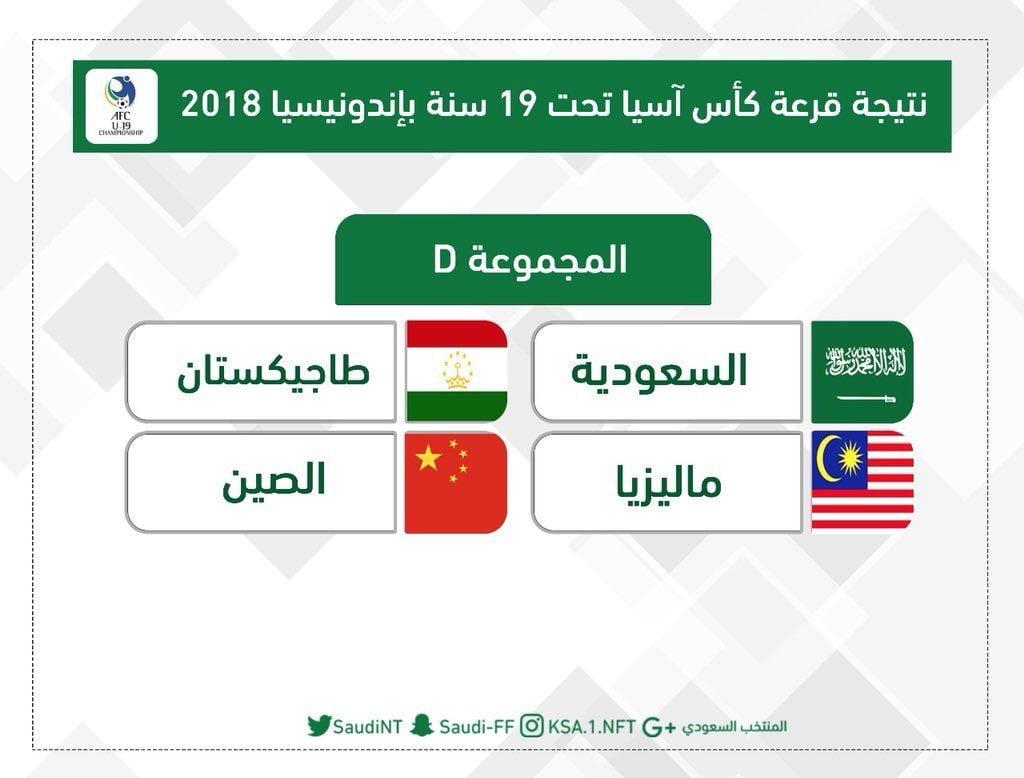 الأخضر الشاب يواجه طاجيكستان والصين وماليزيا في كأس آسيا