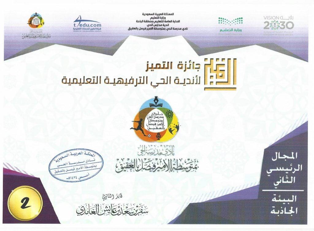 نادي مدرسة الحي بالعقيق يقدم ملف جائزة التميز على مستوى الاندية في المملكة