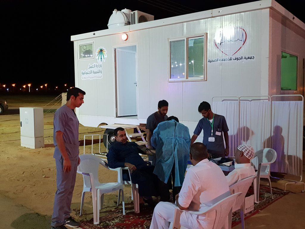 جمعية الجوف للخدمات الصحية تشارك بعيادة متنقلة بمدينة الحجاج بابو عجرم
