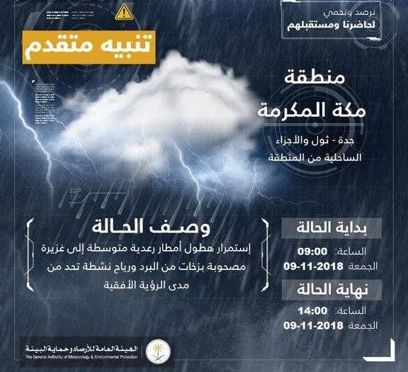 تنبيه متقدم لهطول أمطار على محافظة جدة ومكة