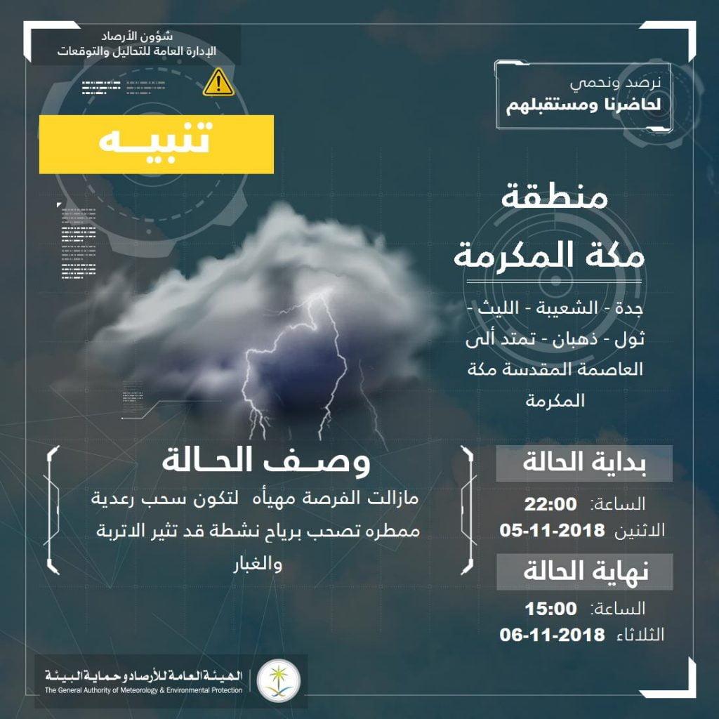 الأرصاد تنبه عن هطول أمطار رعدية على محافظات منطقة مكة المكرمة والرياض