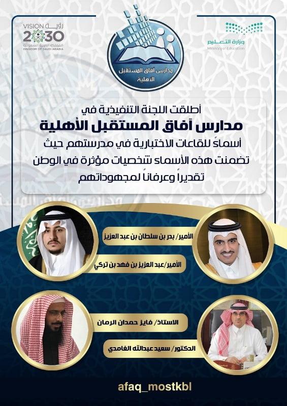 آفاق المستقبل تزين قاعات الاختبار بصور أمير الجوف و نائبه