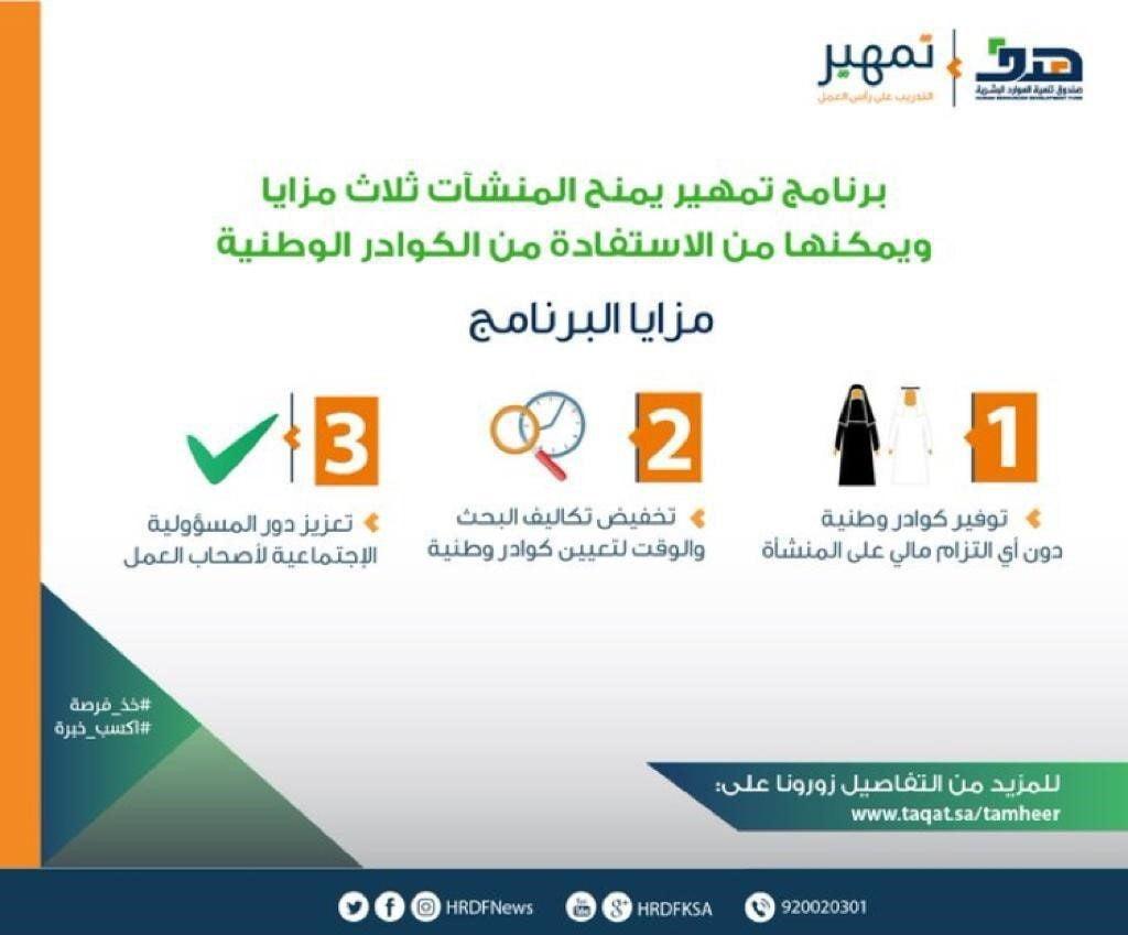 """""""تمهير"""": تدريب السعوديين والسعوديات في مواقع العمل لإكسابهم الخبرات"""