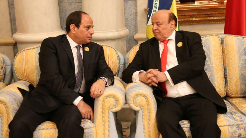 السيسي وهادي يستعرضان تطورات الأوضاع اليمنية والمفاوضات السياسية