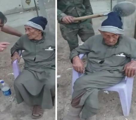 شاهد.. قوات الأسد تضرب مسن على رأسه وتهينه بألفاظ خارجة!