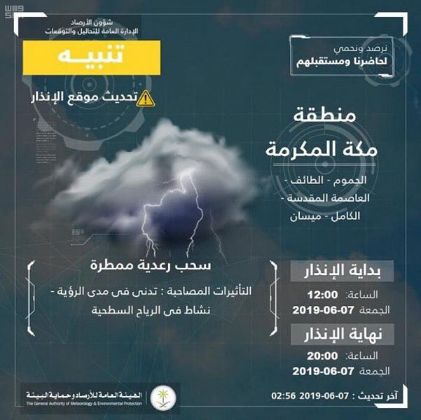 """""""الأرصاد"""" تنبه بهطول أمطار على عدد من محافظات مكة المكرمة"""