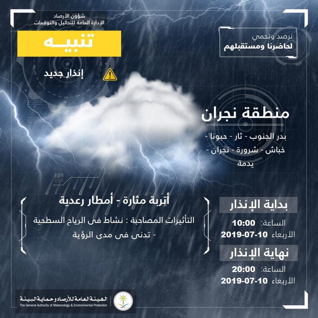 """""""الأرصاد"""" تنبه من هطول أمطار رعدية وأتربة مُثارة على منطقة نجران"""