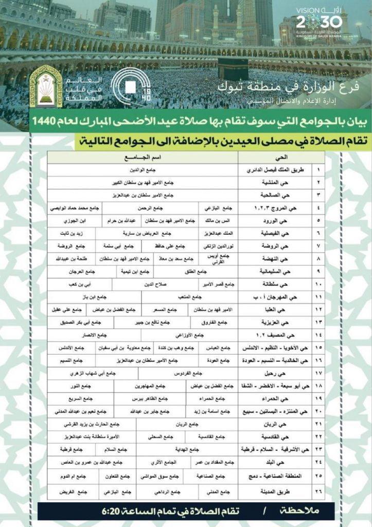 الشؤون الإسلامية بتبوك تحدد المصليات والجوامع لصلاة عيد الأضحى المبارك
