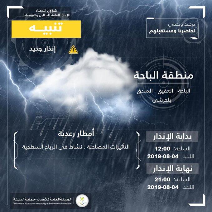 """""""الأرصاد"""" تنبه من هطول أمطار رعدية على منطقة الباحة"""