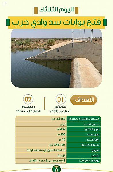 """""""البيئة"""" تعلن فتح بوابات سد وادي جرب بمحافظة العقيق"""