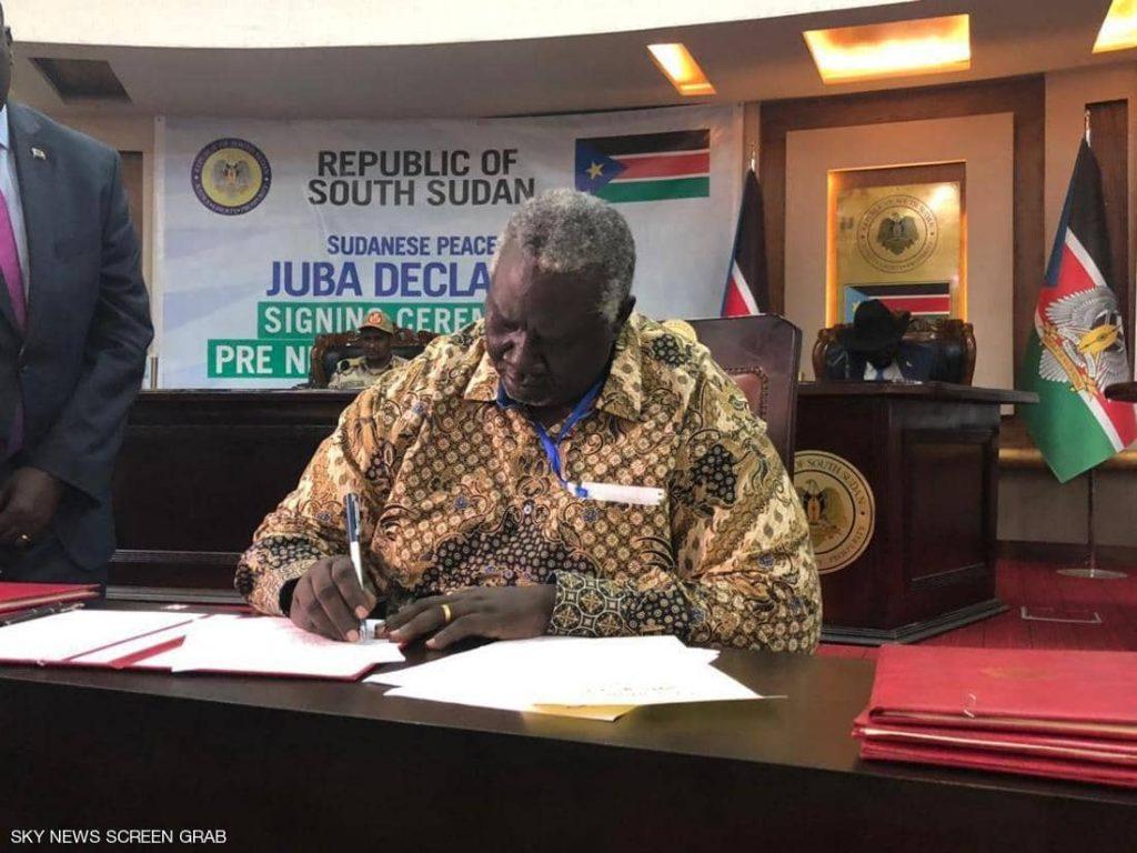 توقيع اتفاق إعلان مبادئ بين الخرطوم والحركات المسلحة بجوبا