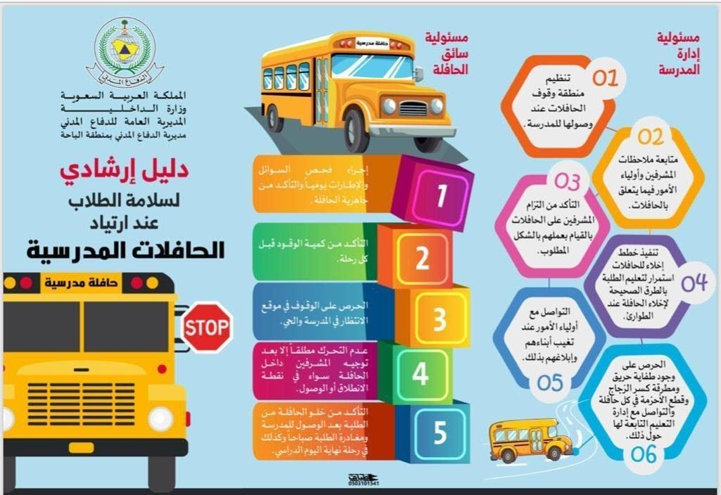 مدني الباحة يصدر دليلاً ارشادياً لسلامة الطلاب والطالبات عند ارتياد الحافلات المدرسية