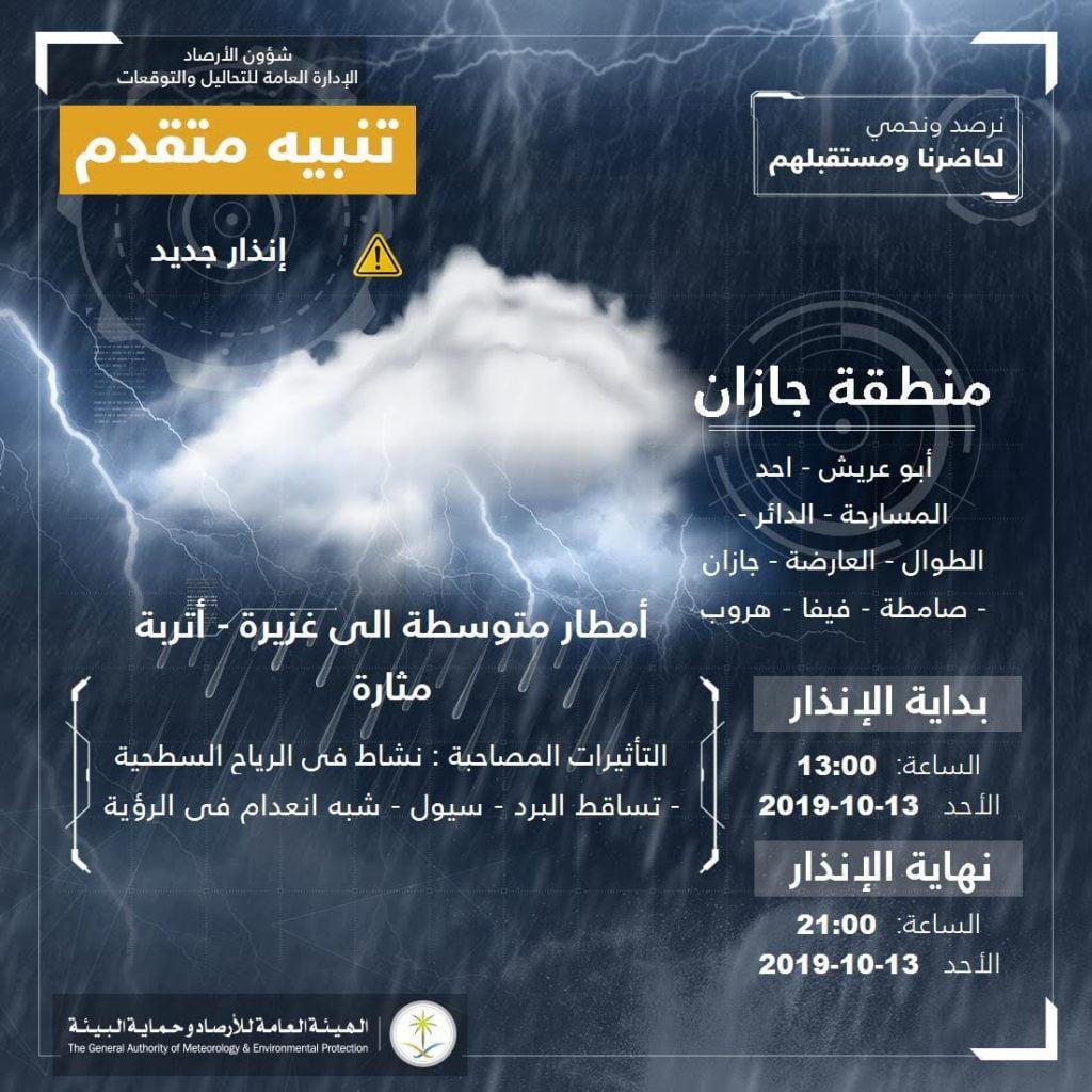 مدني جازان : تنبيهات من تقلبات جوية .. وتحذيرات من السيول والاقتراب من الأودية