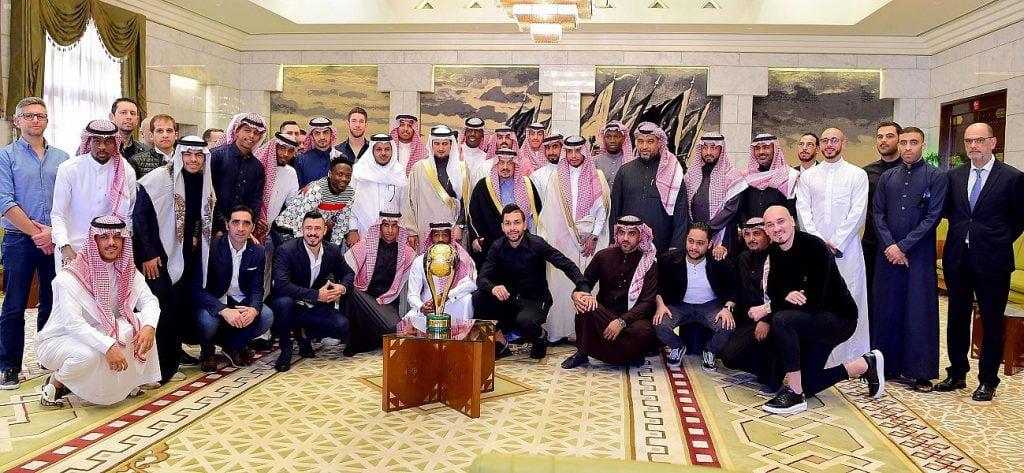 أمير الرياض يستقبل رئيس وأعضاء نادي النصر عقب تحقيق كأس السوبر