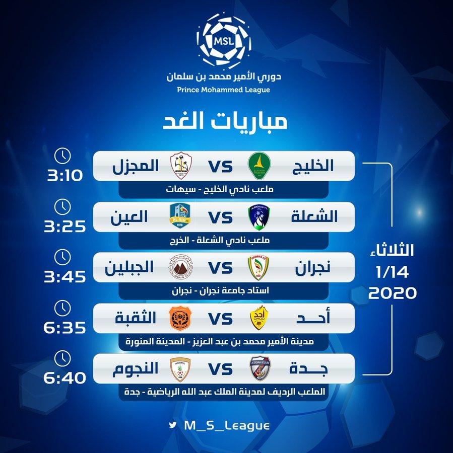 5 مباريات في انطلاق الدور الثاني من دوري الأمير محمد بن سلمان لأندية الدرجة الأولى غدًا