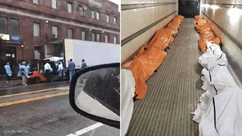 """بسبب كورونا.. """"فيديو شاحنة الجثث"""" يثير الذعر في نيويورك"""