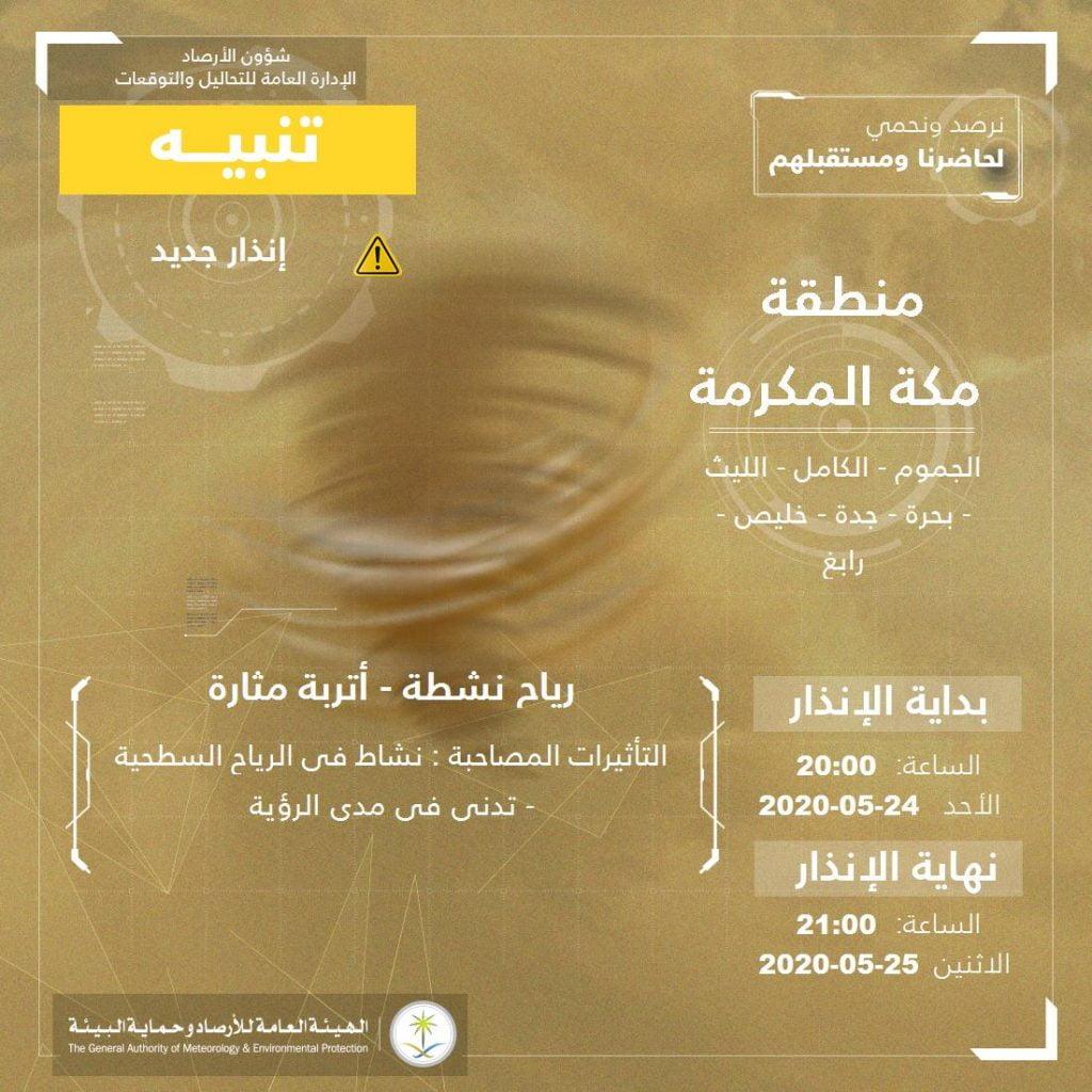 """""""الأرصاد"""" تنبه من نشاط للرياح والأتربة المثارة على عددٍ من محافظات منطقة مكة المكرمة"""
