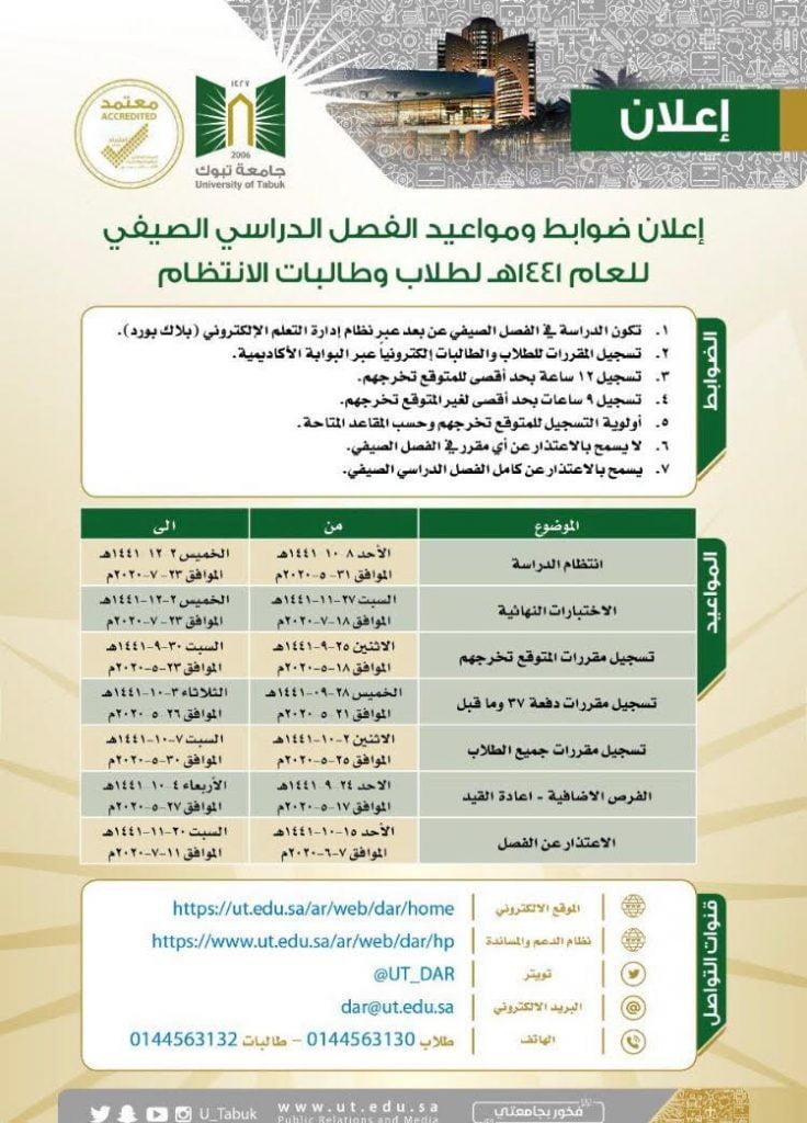 بدء التسجيل في الفصل الصيفي لطلاب جامعة تبوك صحيفة المناطق السعوديةصحيفة المناطق السعودية