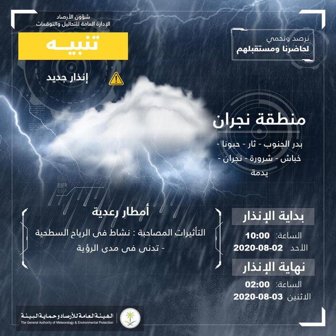 """""""الأرصاد"""" تنبّه من أمطار رعدية على منطقة نجران"""