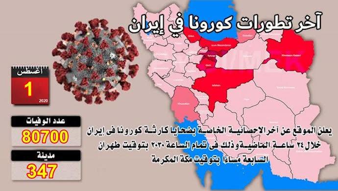 إجمالي ضحايا كورونا في 247 مدينة في إيران يتجاوز 80 ألفًا و 700 شخص