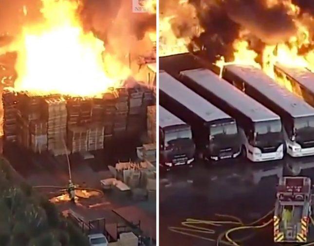 حريق هائل يلتهم عشرات الحافلات