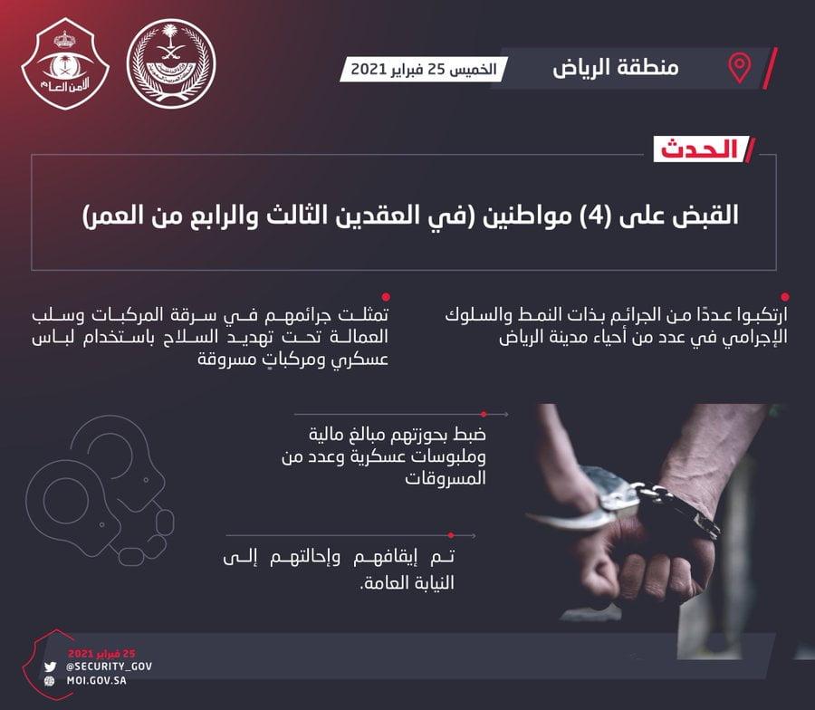 شرطة الرياض: القبض على أربعة أشخاص ارتكبوا عدداً من جرائم السرقات في عدد من الأحياء