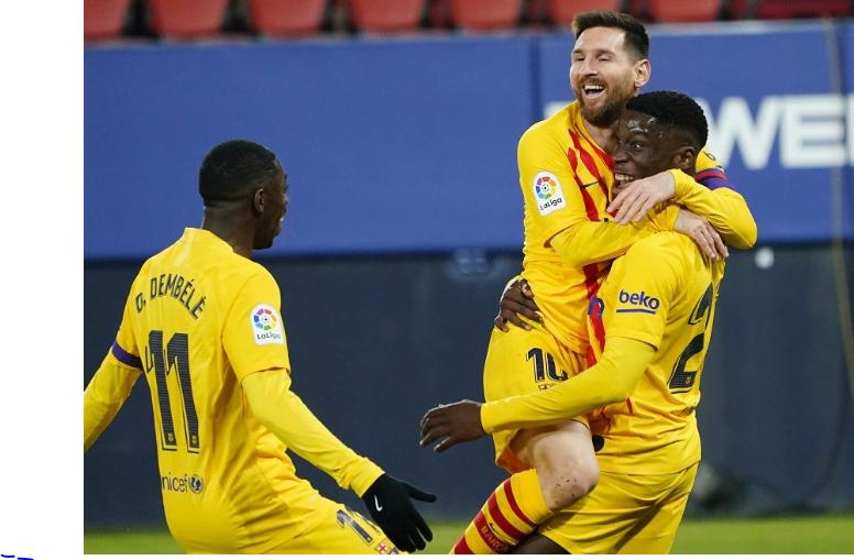 برشلونة يواصل انتصاراته بثنائية على أوساسونا