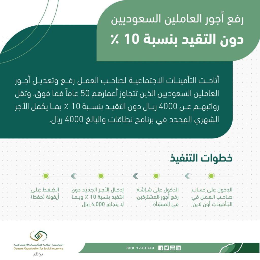 التأمينات: رفع أجور العاملين السعوديين دون التقيُّد بنسبة الـ10%